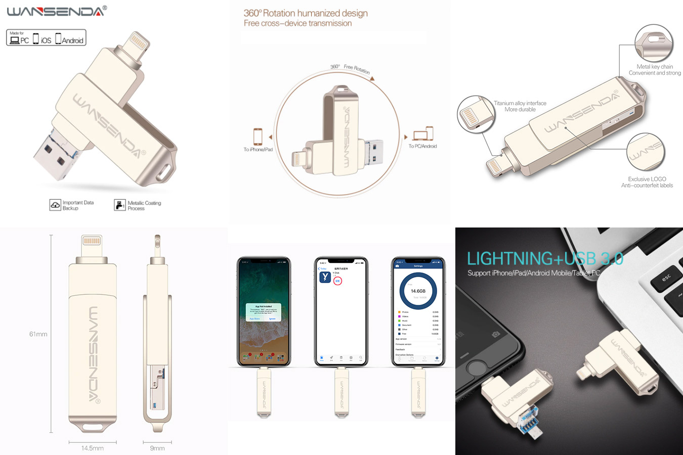 Металлическая флешка и карта памяти 2 в 1 WANSENDA USB Flash drive