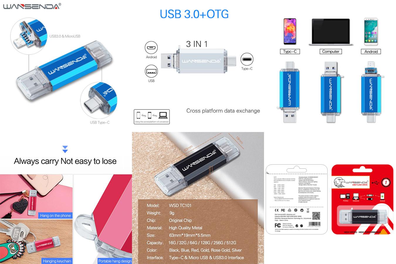 Многофункциональная флешка WANSENDA 3 in 1 OTG USB Flash drive USB 3.0 & type-C