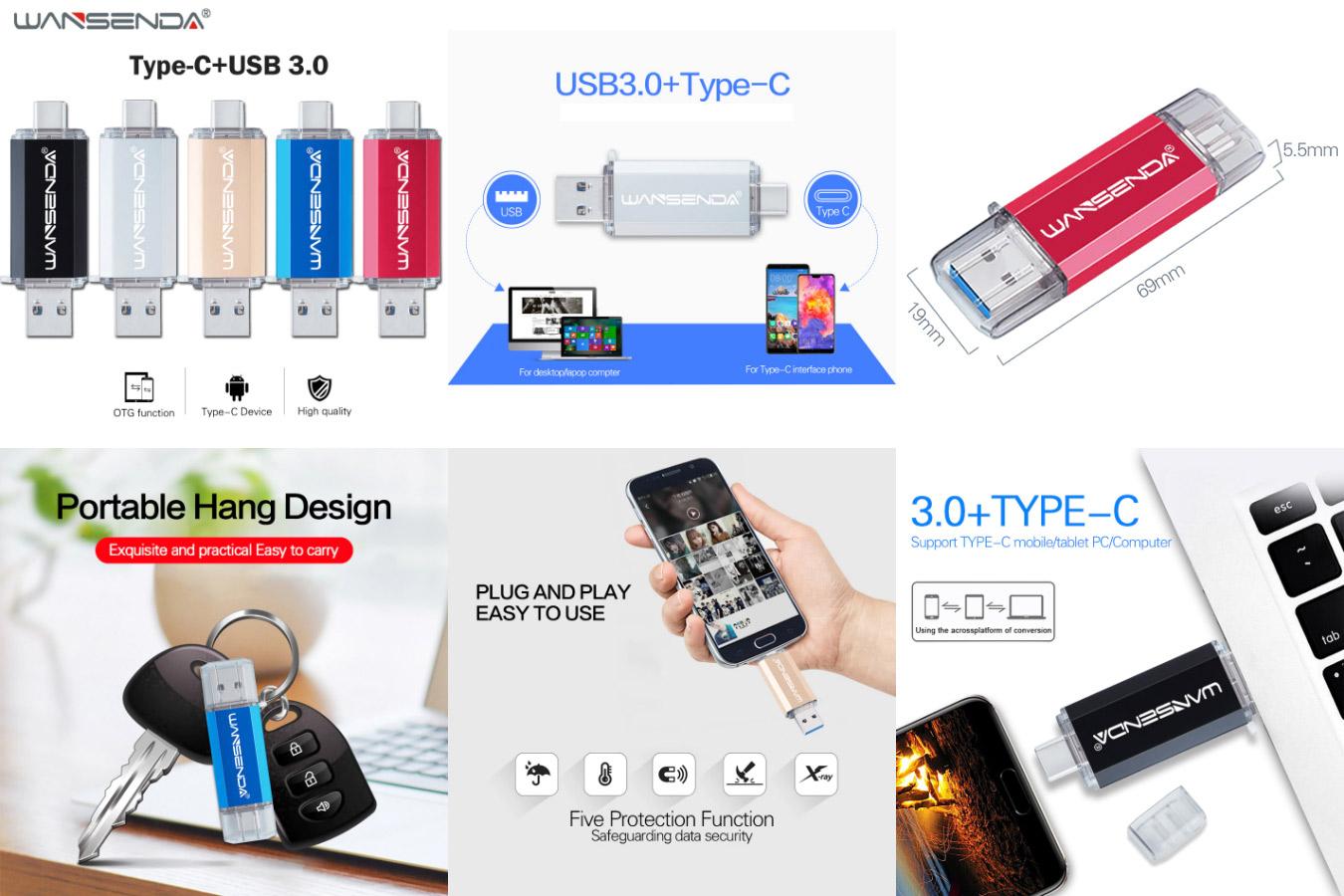 Флешка 2 в 1 для хранения данных WANSENDA OTG Flash drive
