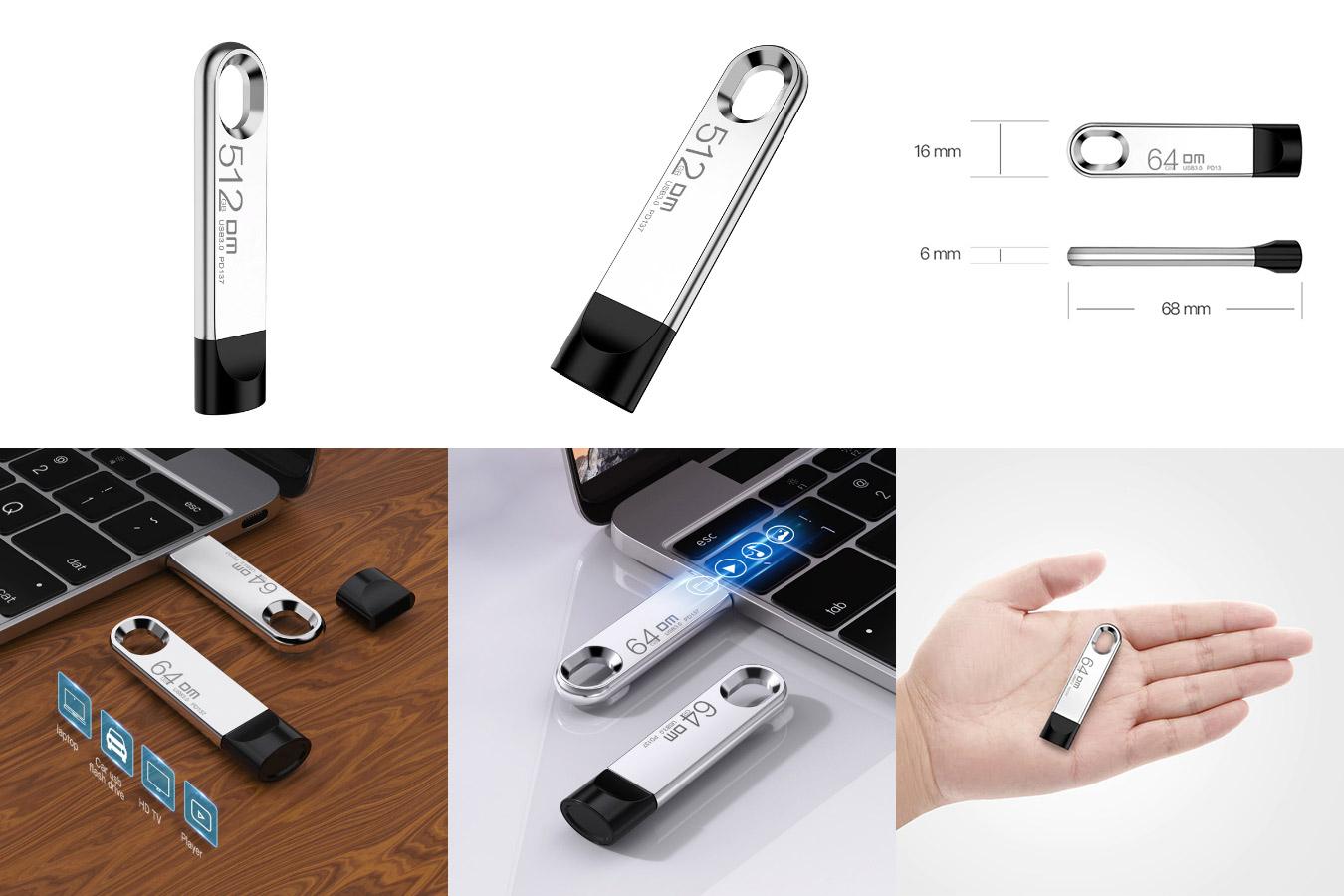 Металлическая флешка большой ёмкости DM USB Flash drive