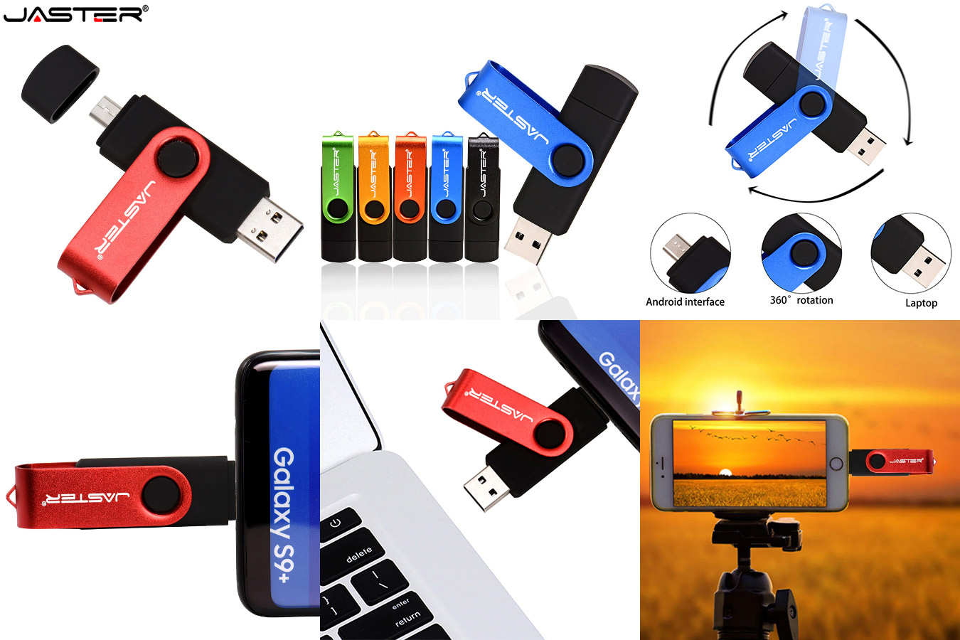 Ёмкостная флешка с защитой разъёма JASTER USB OTG Flash drive