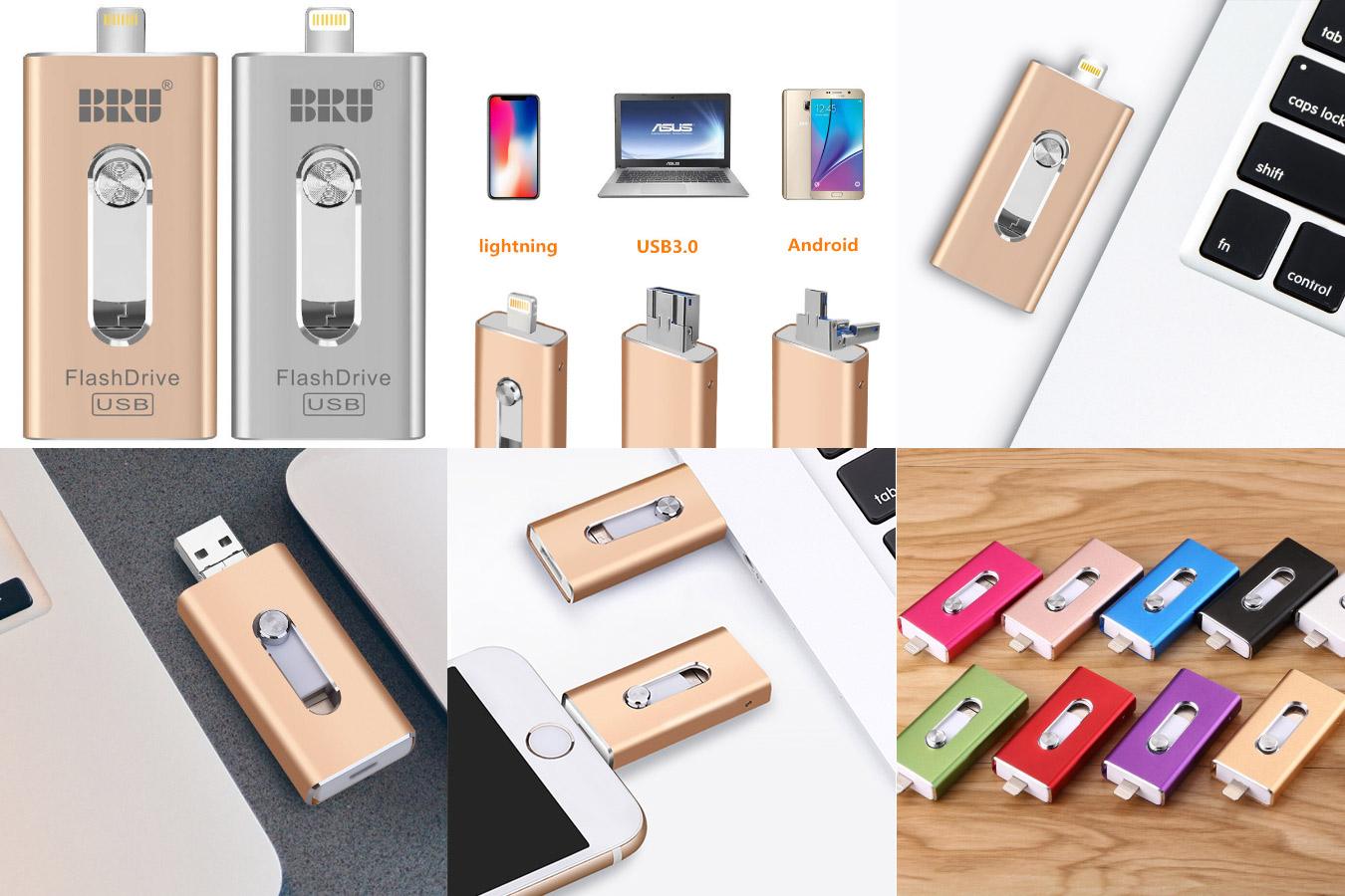 Многофункциональная флешка для смартфона и ПК USB Flash drive OTG BRU