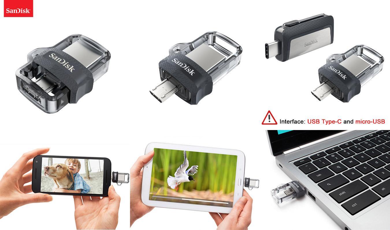 Мини-флешка для ПК и смартфона SanDisk OTG USB Flash drive