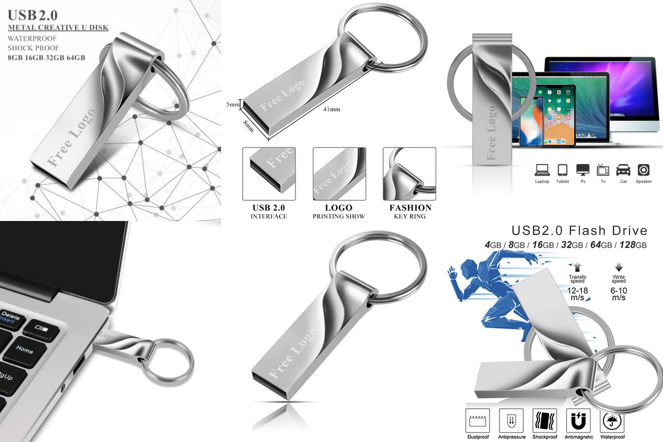 Стильная металлическая флешка USB Flash drive 128 GB