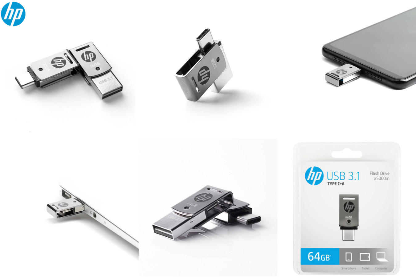 Оригинальная двойная флешка USB Flash drive HP X5000M OTG type-C USB 3.1
