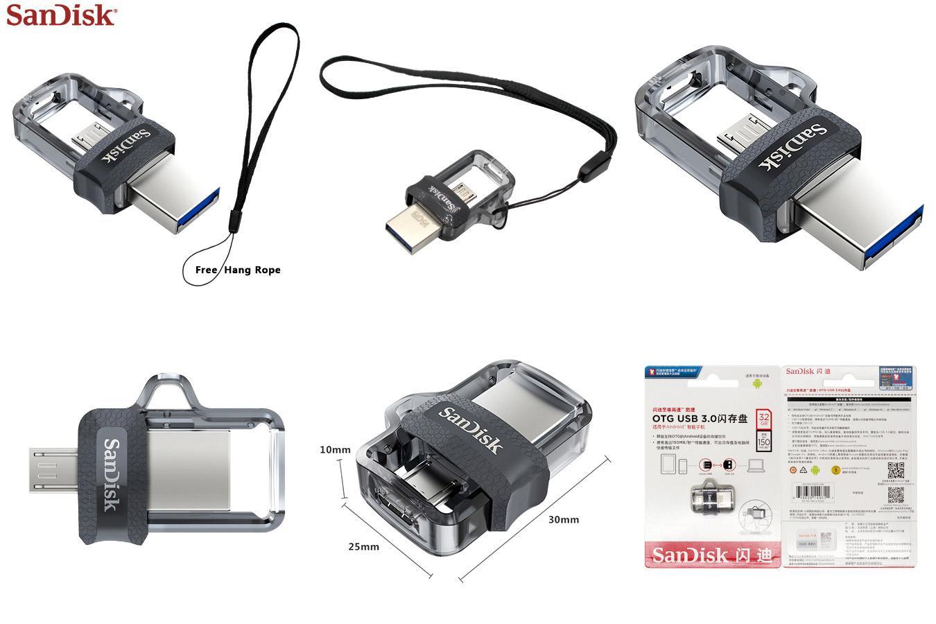 Оригинальный накопитель для хранения данных Original SanDisk Dual OTG USB Flash drive
