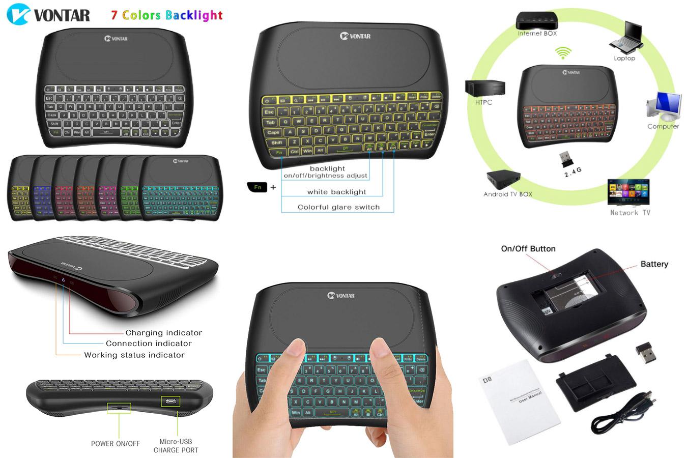 Клавиатура с сенсорной панелью VONTAR D8 Pro Plus