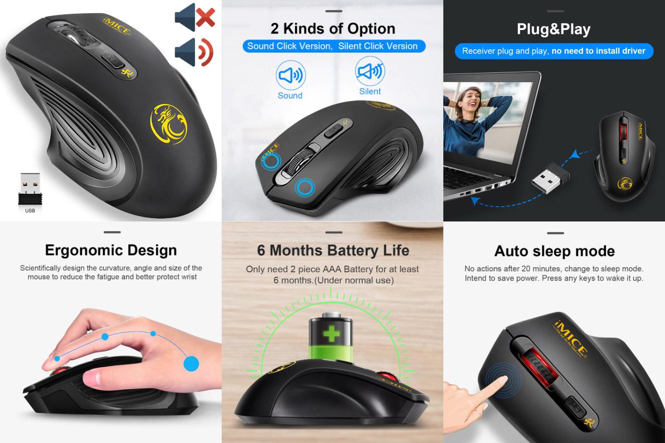 Бесшумная мышь с подзарядкой от сети iMice