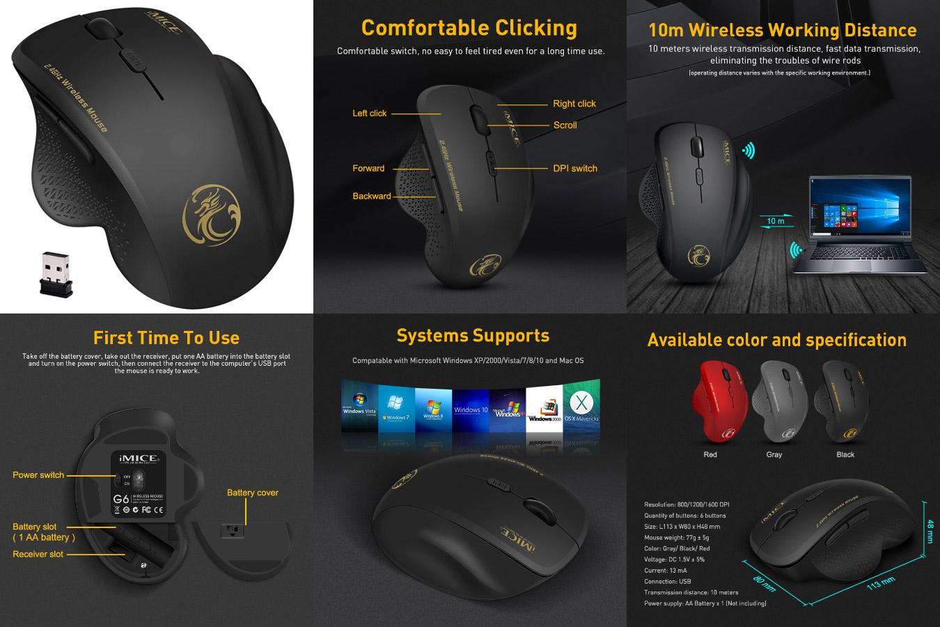 Беспроводная компьютерная мышь iMice Wireless Mouse с алиэкспресс