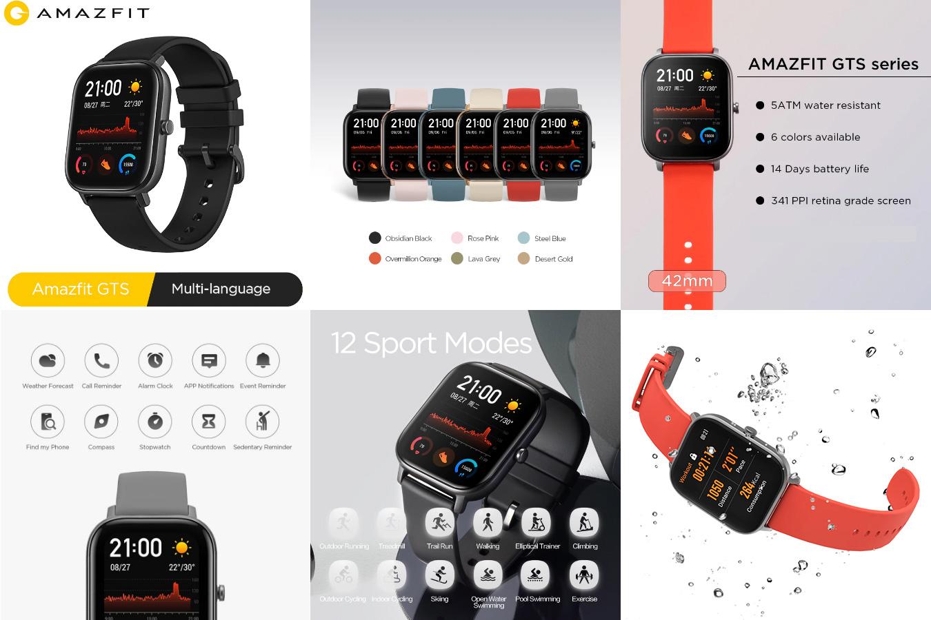 Долго работающие фитнес смарт-часы Amazfit GTS
