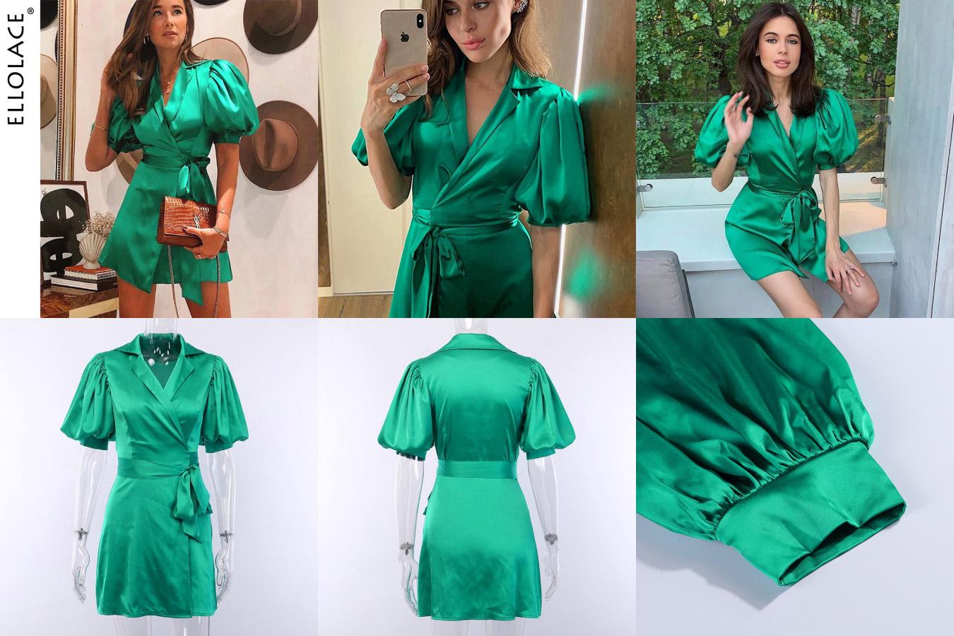 Элегантное шелковое платье зеленого цвета