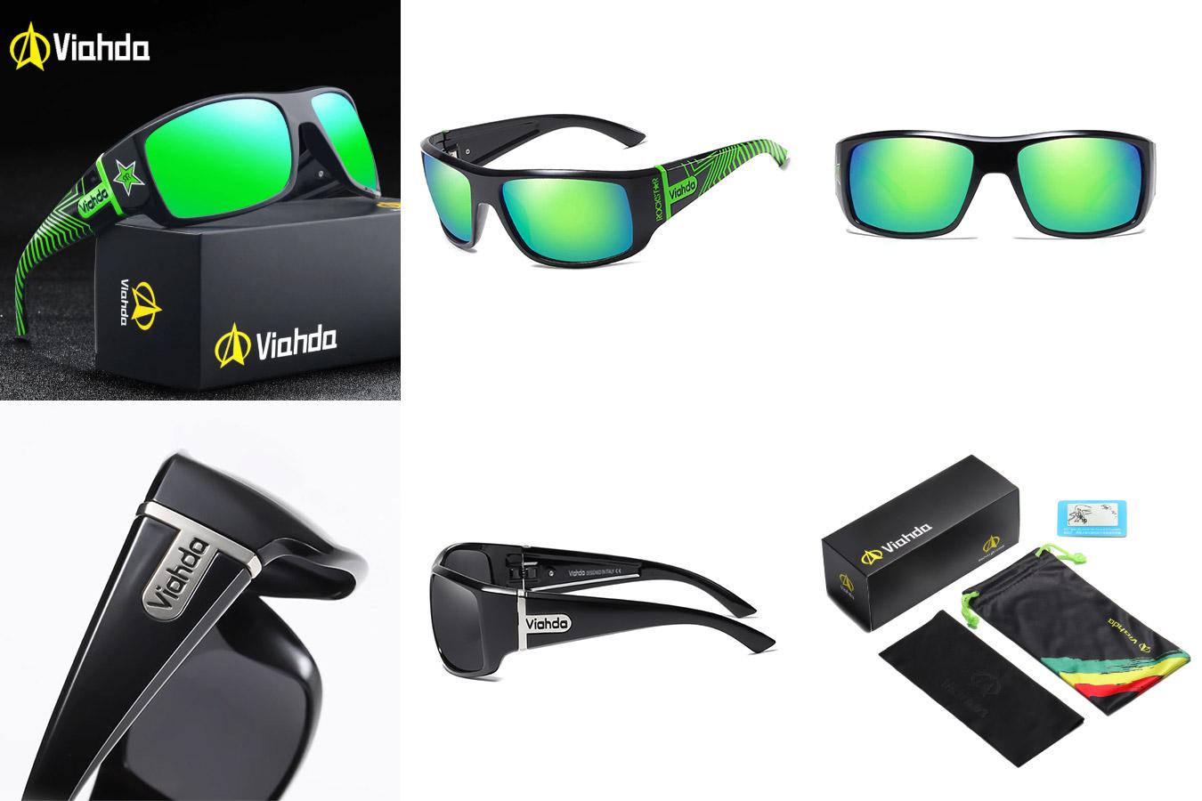 Спортивные мужские очки с зелеными стеклами