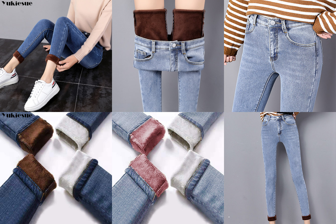 Теплые женские джинсы