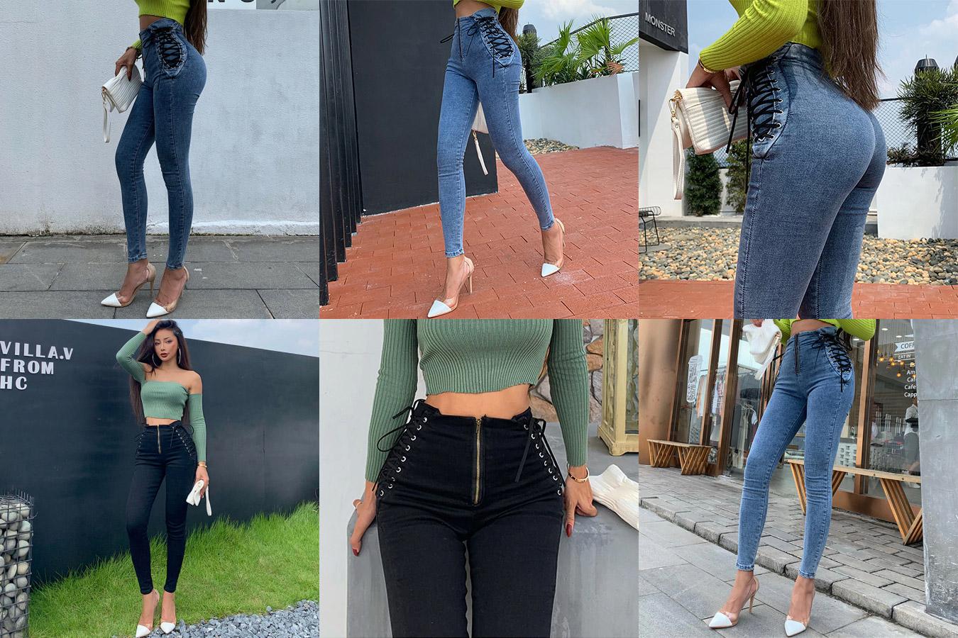 Сексуальные джинсы на шнуровке