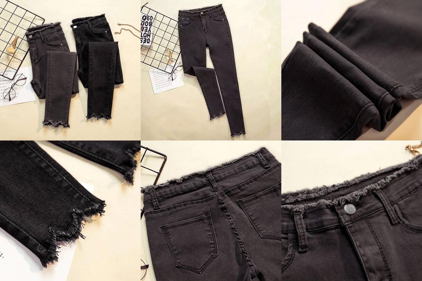 Стрейчевые джинсы с рваными штанинами