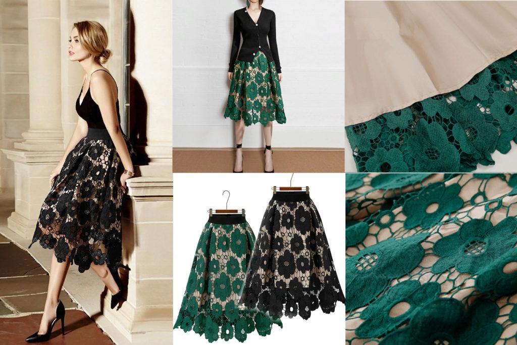 Кружевная юбка с подкладкой красивая
