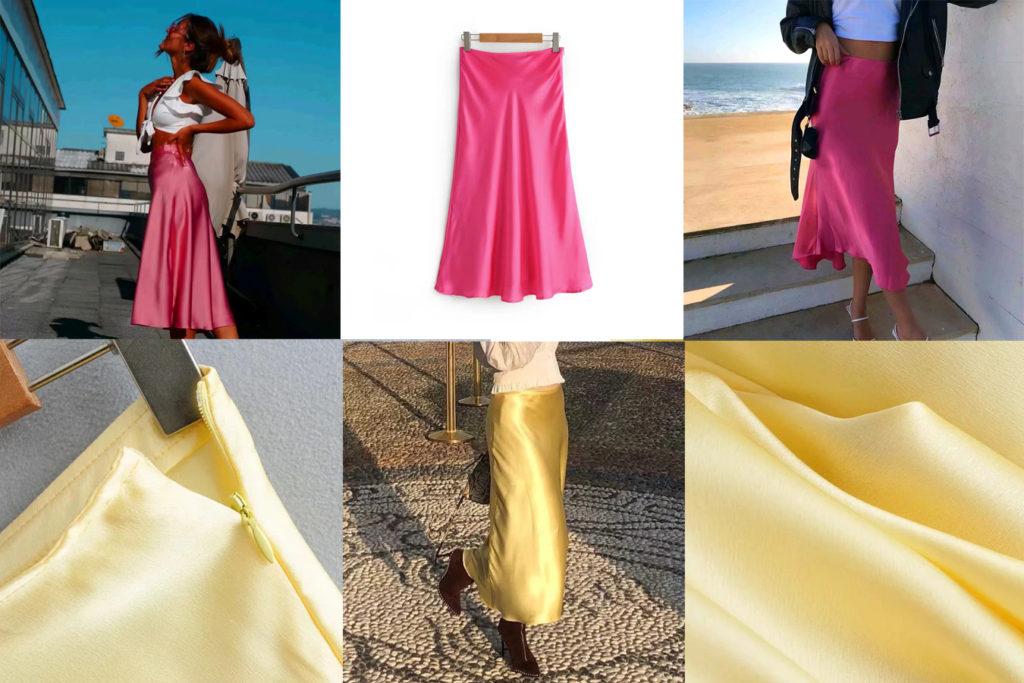 Удлиненная юбка из искусственного шелка
