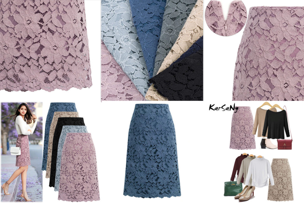Плотная кружевная юбка карандаш без пояса с алиэкспресс