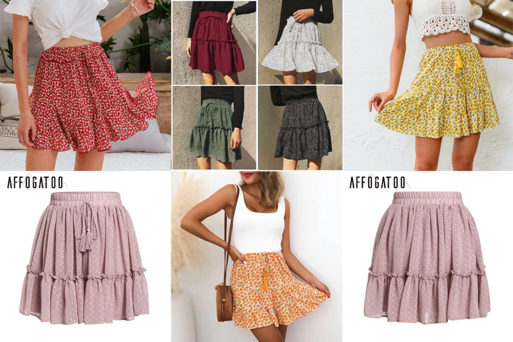 Летняя короткая юбка с воланом