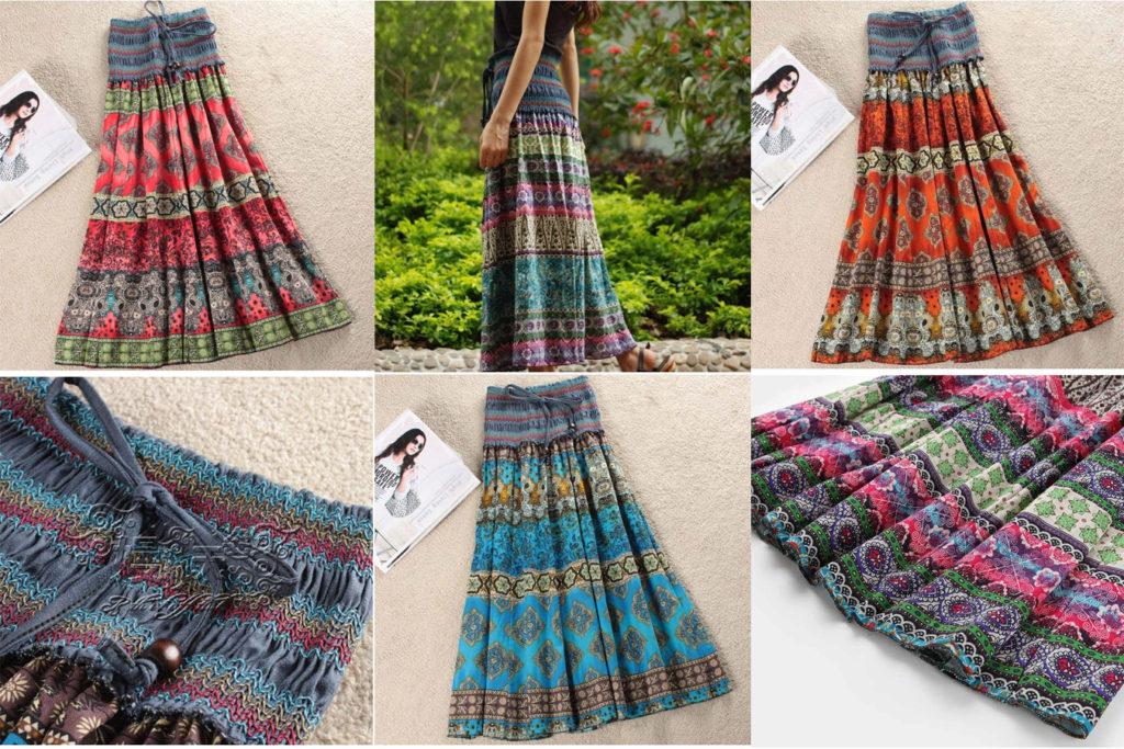 Длинная летняя юбка в индийском стиле на алиэкспресс