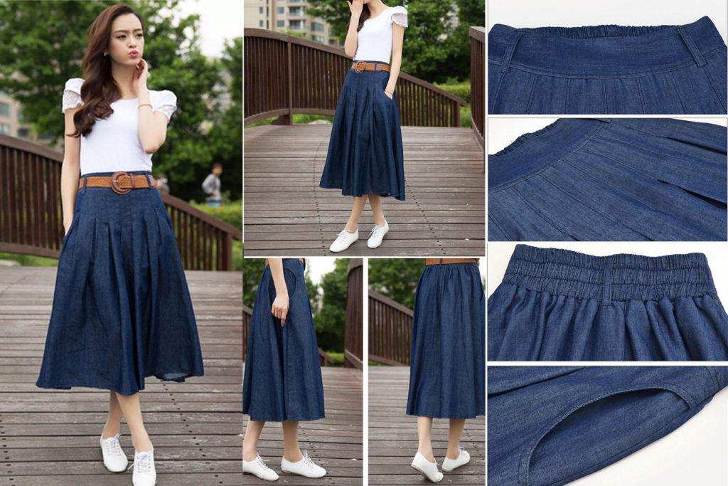 Модная юбка летняя с ремнем карманы деним