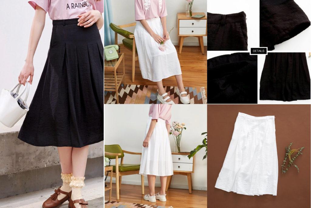 Летняя черная или белая юбка из хлопка