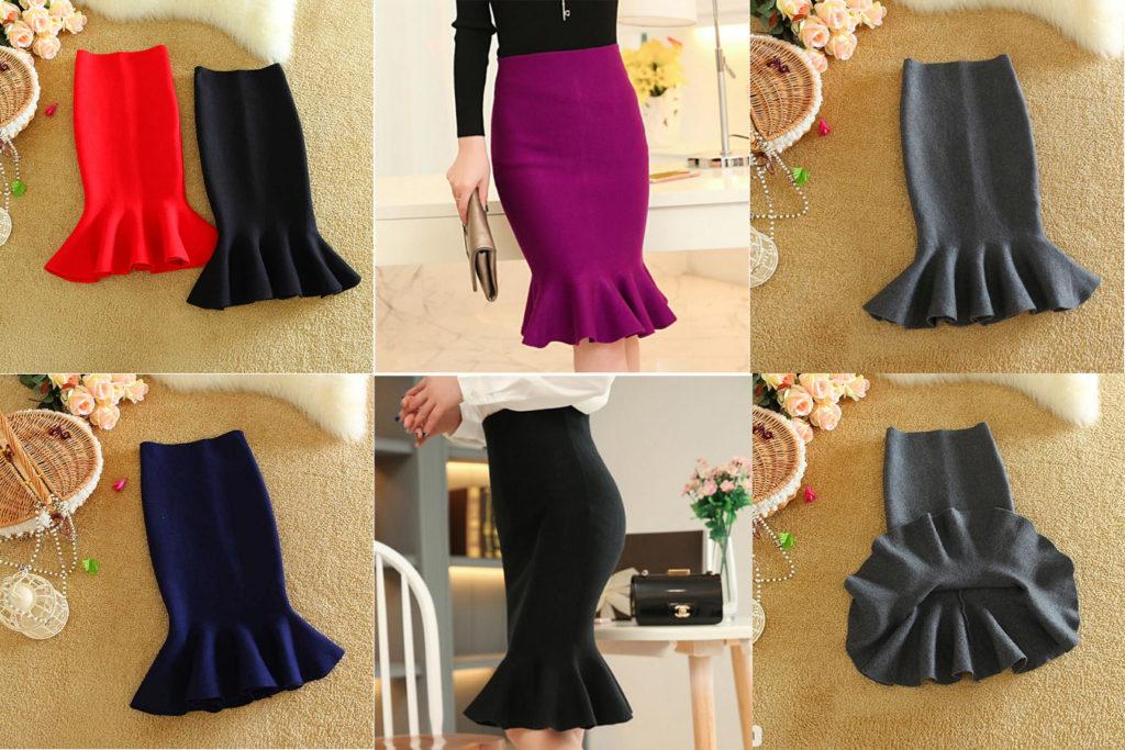 Трикотажная юбка годе модная на алиэкспресс