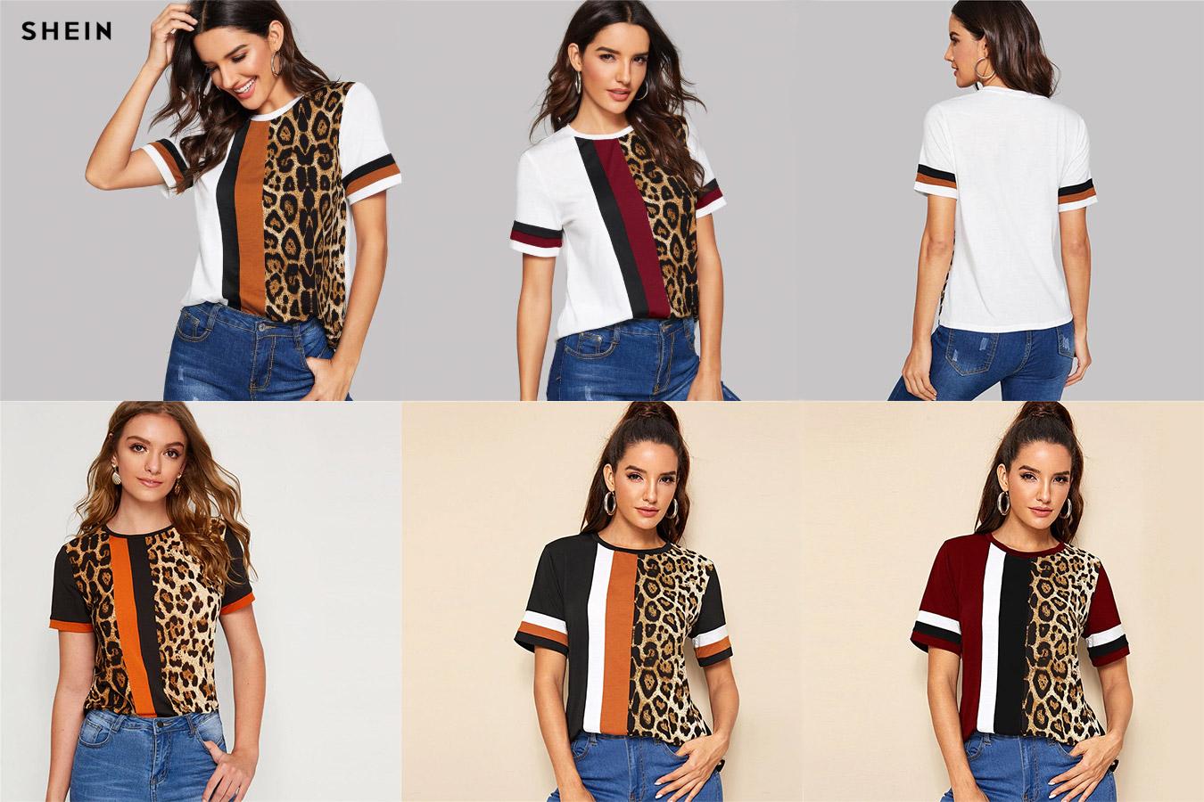 Контрастная футболка с леопардовым принтом
