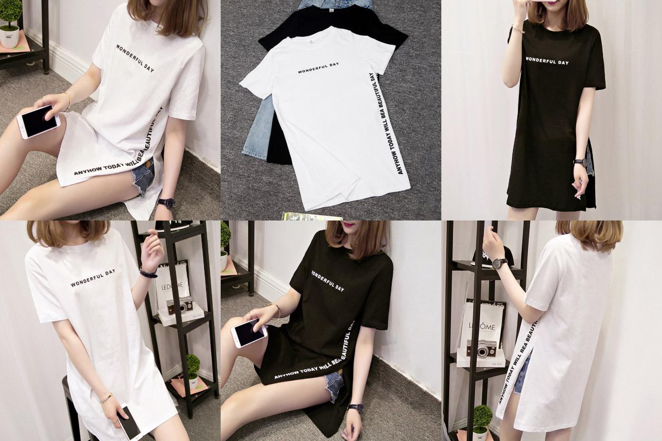 Красивая длинная футболка